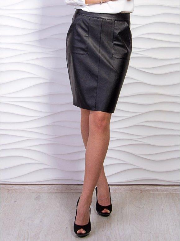 черная юбка из кожзама с карманами фото