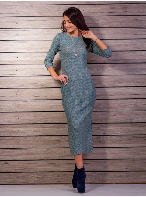 Платье длины миди с украшением, распорки по бокам. Арт.1654
