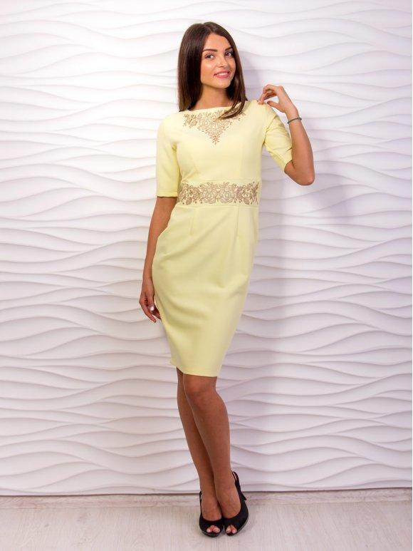 желтое платье с вышивкой фото