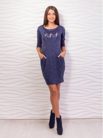 Платье с карманами и жемчугом на груди, четвертной рукав. Арт.2017