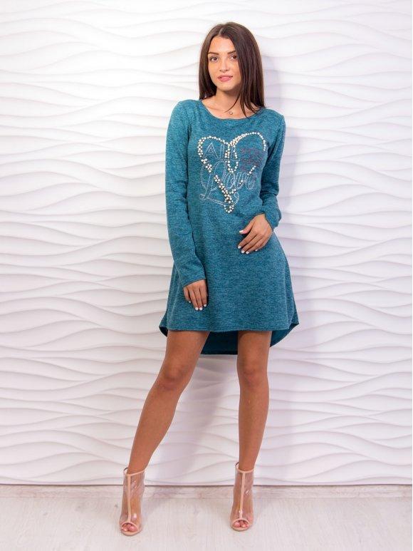 Платье А-силуэта, декорированное жемчугом. Арт.2062