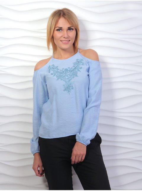 Блуза льняная с вышивкой, открытые плечи. Арт.1970