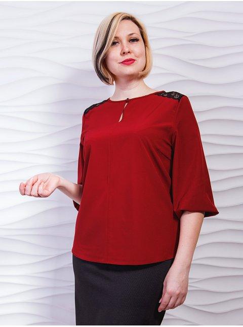 Блуза батал со вставками кружева на плечах. Арт.2289