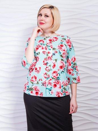 Легкая блуза батал с декоративной вертикальной складкой. Арт.2308