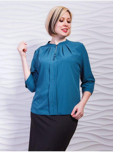 Блуза со складками по горловине, декорированная пуговицами. Арт.2290