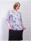 Блуза батал с цветочным принтом и украшением. Арт.2302