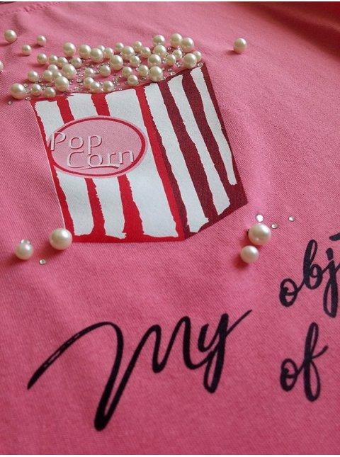 Модная укороченная футболка с принтом,  украшена жемчугом и стразами. Арт.2351