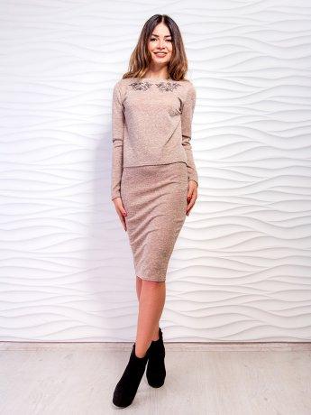 Комплект: кофта с изысканной вышивкой и жемчугом + юбка-карандаш. Арт.2447