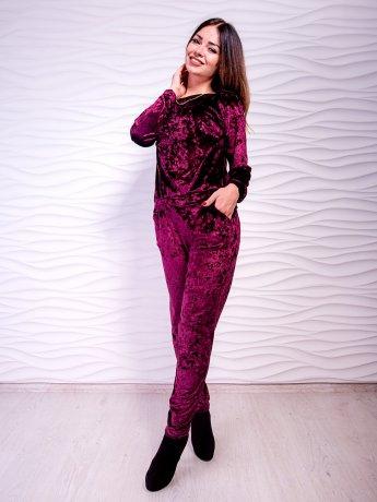 Велюровый костюм: кофта на манжете + штаны с карманами. Арт.2457