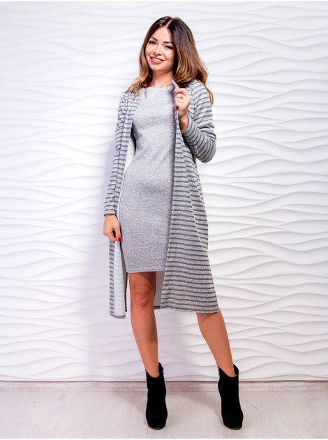 Комплект: кардиган из ткани в полоску + приталенное платье с четвертным рукавом. Арт.2471