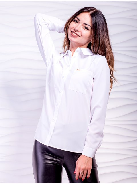 Строгая деловая блуза с карманами. Арт.2479