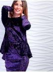 Велюровый костюм: кофта с плиссировкой + юбка-карандаш. Арт.2498