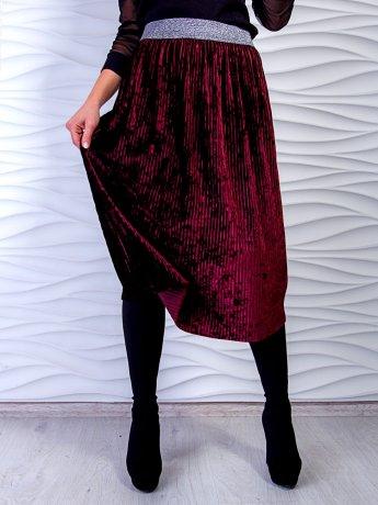 Нарядная велюровая юбка-миди с плиссировкой. Арт.2506