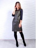 Крутое комбинированное платье из текстурированной экокожи и дайвинга. Арт.2469