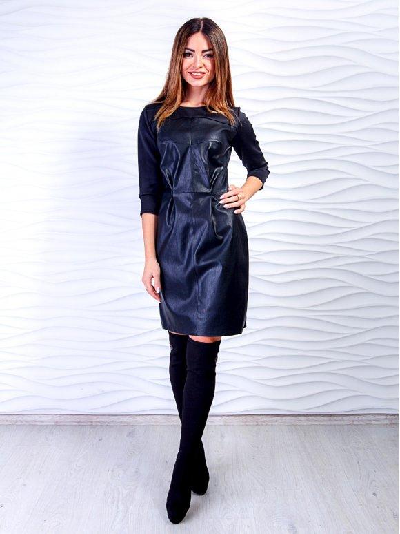 платье из структурированной экокожи фото