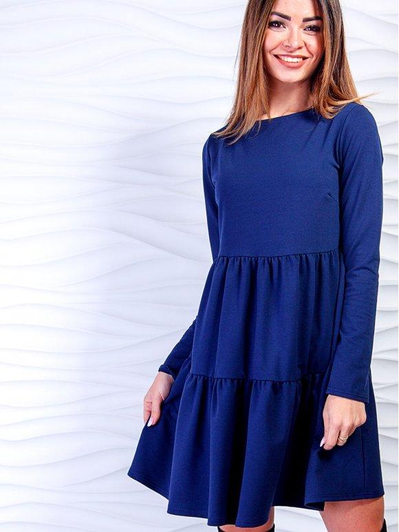 синя сукня з рюшами фото