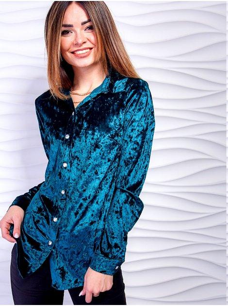 Классическая велюровая рубашка с полукруглым низом. Арт.2454