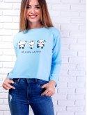 Трендовая укороченная кофта с пандами. Арт.2491