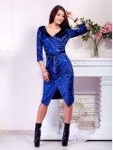 Нарядное велюровое платье на запах с поясом. Арт.2519
