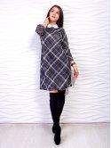 Модное клетчатое платье А-силуэта из ткани с воротником. Арт.2473