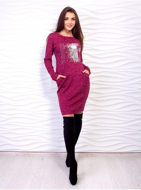 Стильное платье-футляр с оригинальным принтом и удобными карманами. Арт.2535