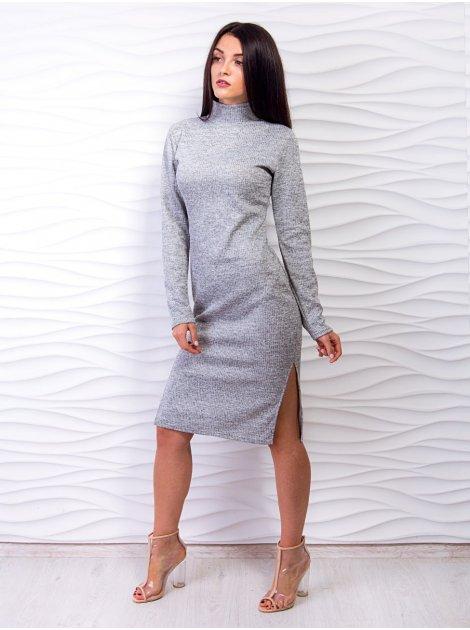 Удобное платье со стойкой с пикантными разрезами по бокам. Арт.2527