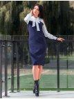 Красивое комбинированное платье с бантом. Арт.2511