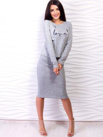 Костюм: стильная укороченная кофта с красивой вышивкой + юбка-карандаш. Арт.2533