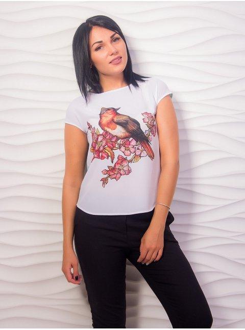 """Комбинированная блуза с принтом """"птица"""". Арт.2007"""