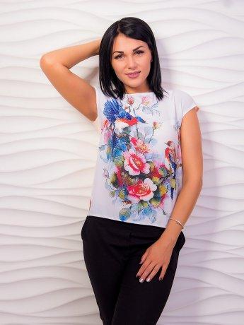Блуза с ярким принтом, комбинированная. Арт.2004