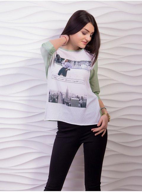 Комбинированная блуза с принтом, рукав 3/4. Арт.1929