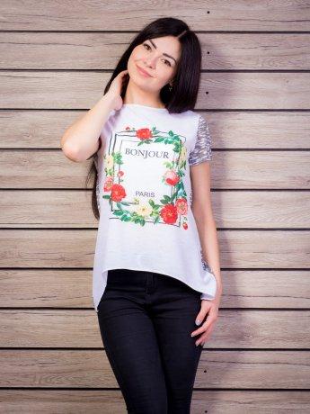 Блуза комбинированная с цветочным принтом. Арт.1939