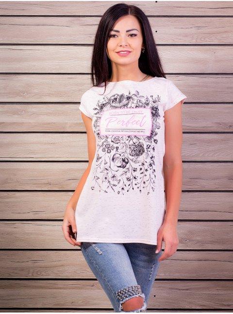 Туника-футболка с принтом, разрезы по бокам. Арт.1984