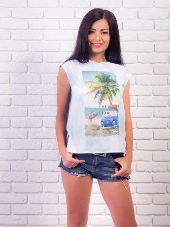 Комбинированная футболка, летний принт. Арт.1976