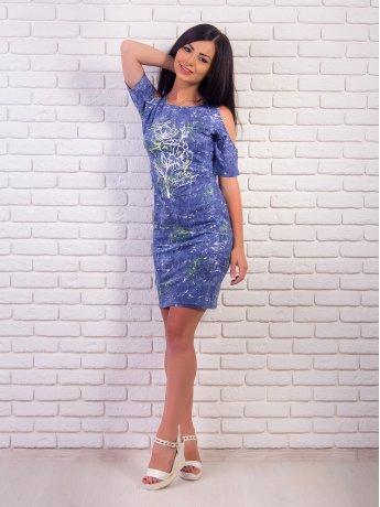 """Платье с открытыми плечами, принт """"джинс"""". арт.1972"""