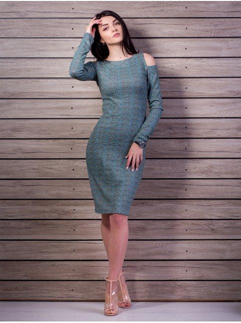 платье в рубчик с открытыми плечами. Арт.2173