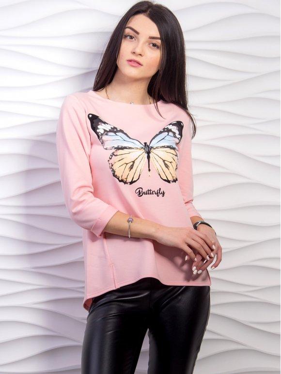 """Кофта з принтом """"Butterfly"""", рукав 3,4. Арт.2219"""