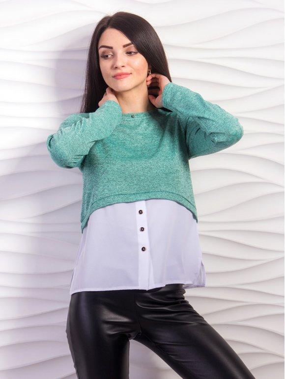 Свитер-обманка с имитацией рубашки. Арт.2209