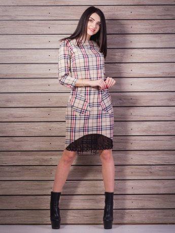 Платье в клетку с кружевной вставкой. Арт.2213