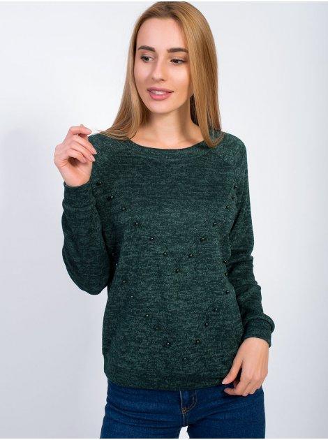 Модный джемпер с жемчугом 2871
