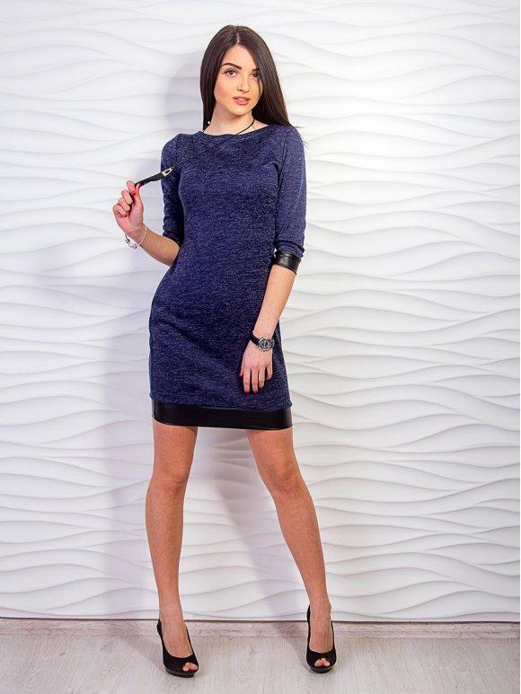 Платье с кожаными манжетами. Арт.2206
