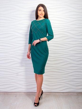 Платье из металлика, декорированное жемчугом. Арт.2260