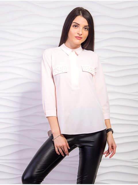 Блуза с декоративными клапанами и жемчугом. Арт.2246