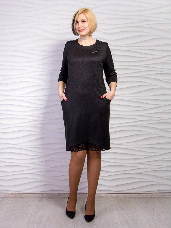 Платье батал с кружевной отделкой и украшением. Арт.2235