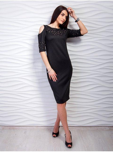 Платье с вырезами на плечах, декорированное жемчугом. Арт.2261