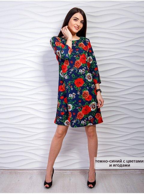 Платье - трапеция с цветочным принтом. Арт.2296