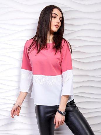 Двухцветная блуза с кружевом. Арт.2244