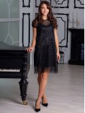 Платье-чехол из сетки с пайетками 2890