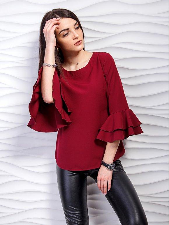 Блуза с воланами на рукавах. Арт.2238