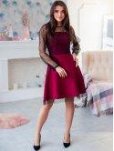 Праздничное платье, комбинированное с сеткой 2906
